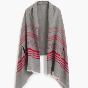 J Crew gray and red cape scarf NWT
